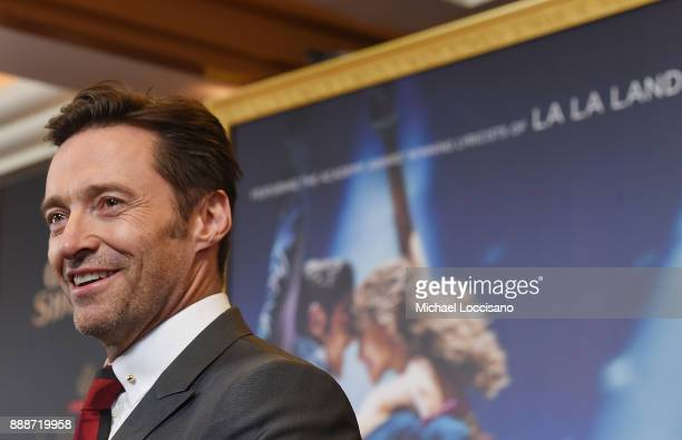 Actor Hugh Jackman attends the 'The Greatest Showman' World Premiere aboard the Queen Mary 2 at the Brooklyn Cruise Terminal on December 8 2017 in...