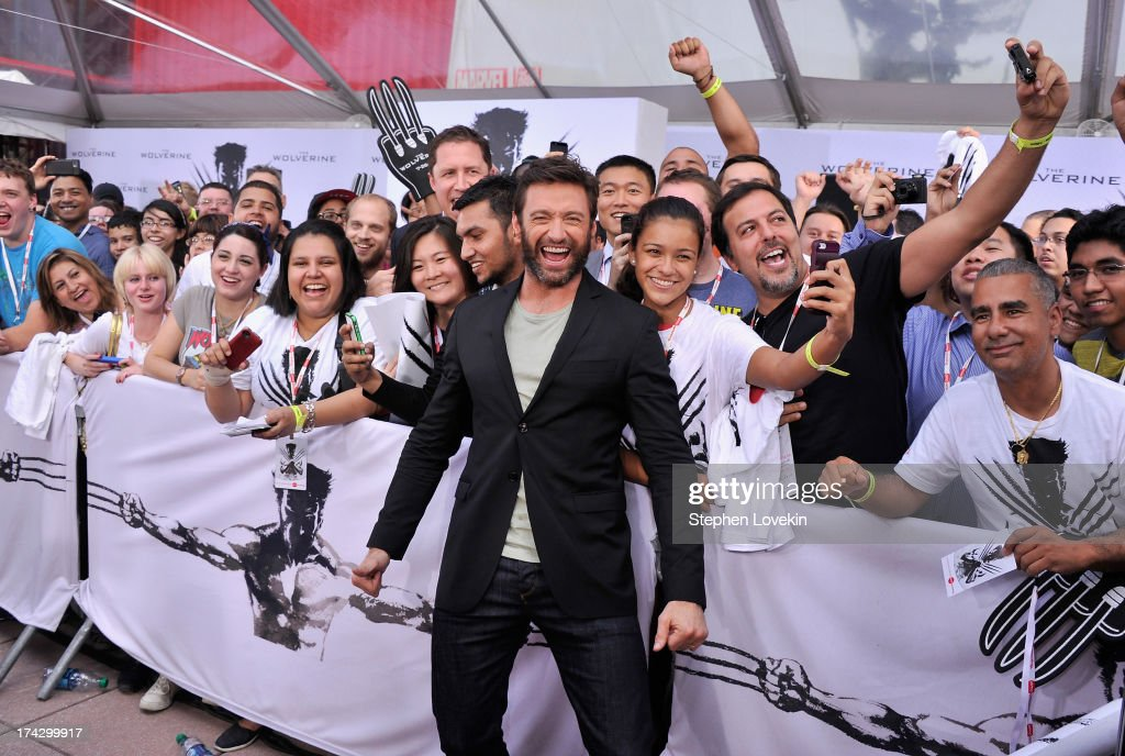 Actor <a gi-track='captionPersonalityLinkClicked' href=/galleries/search?phrase=Hugh+Jackman&family=editorial&specificpeople=202499 ng-click='$event.stopPropagation()'>Hugh Jackman</a> attends the 'The Wolverine' New York City Fan Event at AMC Empire on July 23, 2013 in New York City.