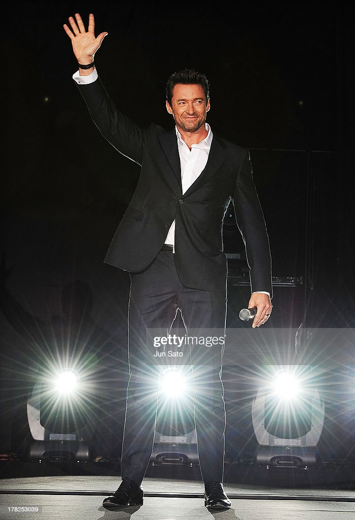 Actor <a gi-track='captionPersonalityLinkClicked' href=/galleries/search?phrase=Hugh+Jackman&family=editorial&specificpeople=202499 ng-click='$event.stopPropagation()'>Hugh Jackman</a> attends 'The Wolverine' Japan Premiere at the Roppongi Hills on August 28, 2013 in Tokyo, Japan.