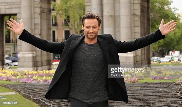 Actor Hugh Jackman attends the 'X Men Origins Wolverine' photocall at the 'Puerta de Alcala' on April 15 2009 in Madrid Spain