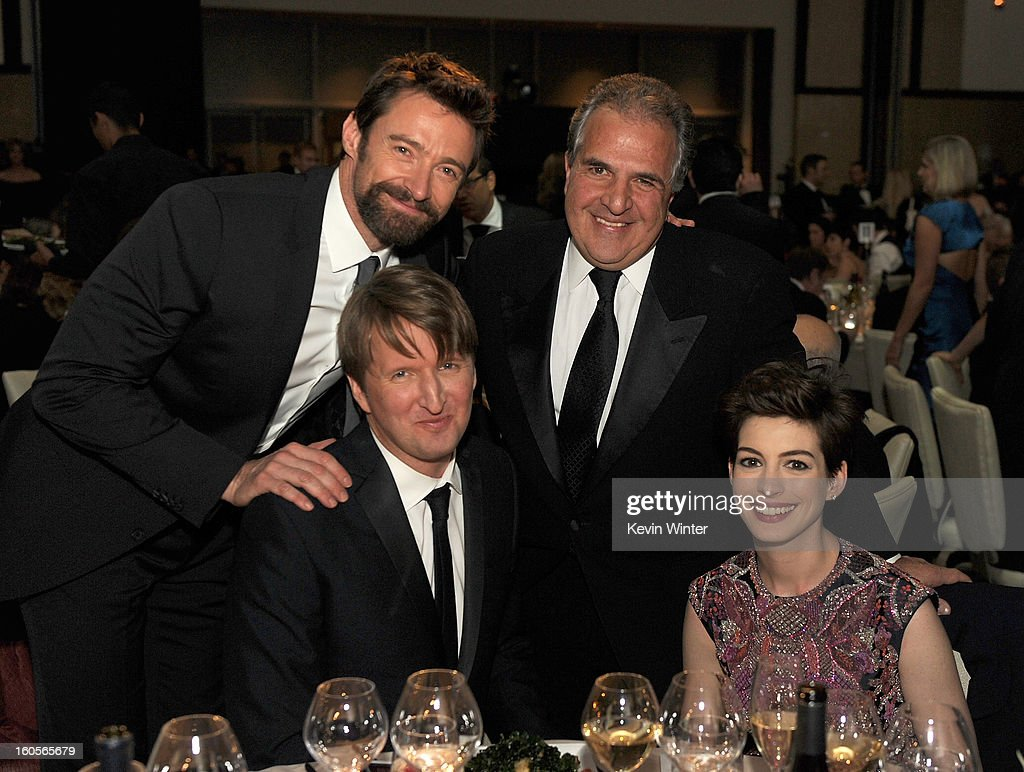 Actor <a gi-track='captionPersonalityLinkClicked' href=/galleries/search?phrase=Hugh+Jackman&family=editorial&specificpeople=202499 ng-click='$event.stopPropagation()'>Hugh Jackman</a>, director <a gi-track='captionPersonalityLinkClicked' href=/galleries/search?phrase=Tom+Hooper&family=editorial&specificpeople=681836 ng-click='$event.stopPropagation()'>Tom Hooper</a>, Fox Filmed Entertainment Chairman & CEO <a gi-track='captionPersonalityLinkClicked' href=/galleries/search?phrase=Jim+Gianopulos&family=editorial&specificpeople=211611 ng-click='$event.stopPropagation()'>Jim Gianopulos</a>, and actress <a gi-track='captionPersonalityLinkClicked' href=/galleries/search?phrase=Anne+Hathaway+-+Actress&family=editorial&specificpeople=11647173 ng-click='$event.stopPropagation()'>Anne Hathaway</a> attend the 65th Annual Directors Guild Of America Awards at Ray Dolby Ballroom at Hollywood & Highland on February 2, 2013 in Los Angeles, California.