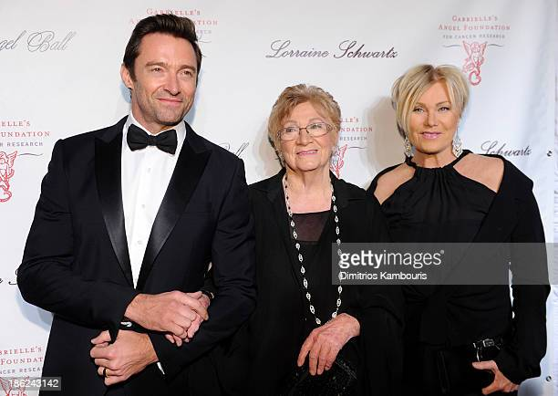Actor Hugh Jackman Faye Duncan and Deborra Lee Furness attend Gabrielle's Angel Foundation Hosts Angel Ball 2013 at Cipriani Wall Street on October...