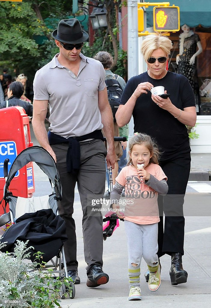 Actor <a gi-track='captionPersonalityLinkClicked' href=/galleries/search?phrase=Hugh+Jackman&family=editorial&specificpeople=202499 ng-click='$event.stopPropagation()'>Hugh Jackman</a> his wife <a gi-track='captionPersonalityLinkClicked' href=/galleries/search?phrase=Deborra-Lee+Furness&family=editorial&specificpeople=542814 ng-click='$event.stopPropagation()'>Deborra-Lee Furness</a> and their daughter Ava walk in the West Village on October 6, 2009 in New York City.