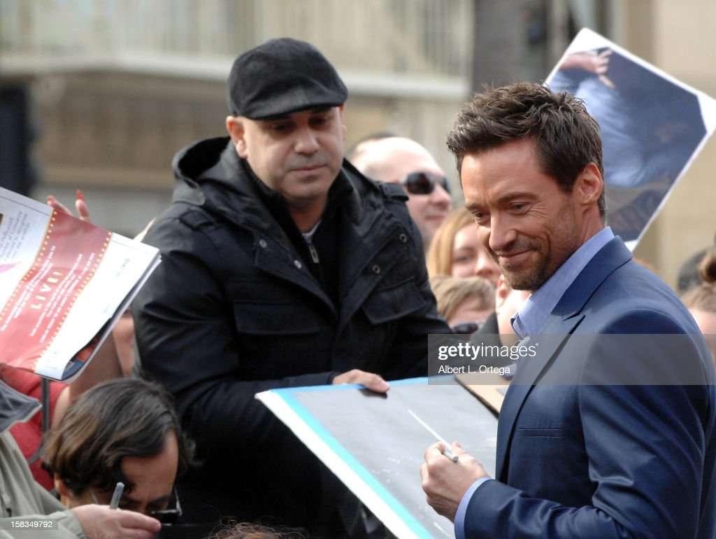 Actor <a gi-track='captionPersonalityLinkClicked' href=/galleries/search?phrase=Hugh+Jackman&family=editorial&specificpeople=202499 ng-click='$event.stopPropagation()'>Hugh Jackman</a> Honored On The Hollywood Walk Of Fame on December 13, 2012 in Hollywood, California.