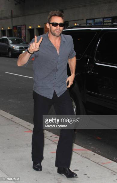Actor Hugh Jackman is seen arriving at the 'Late Show With David Letterman' at the Ed Sullivan Theater on October 4 2011 in New York City