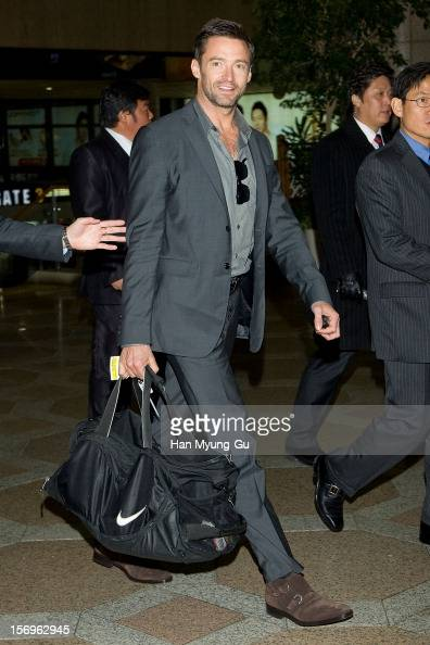 Actor Hugh Jackman is seen on departure at Gimpo International Airport on November 26 2012 in Seoul South Korea