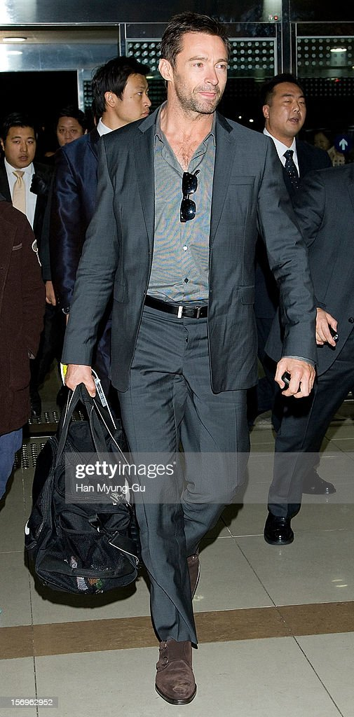 Actor <a gi-track='captionPersonalityLinkClicked' href=/galleries/search?phrase=Hugh+Jackman&family=editorial&specificpeople=202499 ng-click='$event.stopPropagation()'>Hugh Jackman</a> is seen on departure at Gimpo International Airport on November 26, 2012 in Seoul, South Korea.