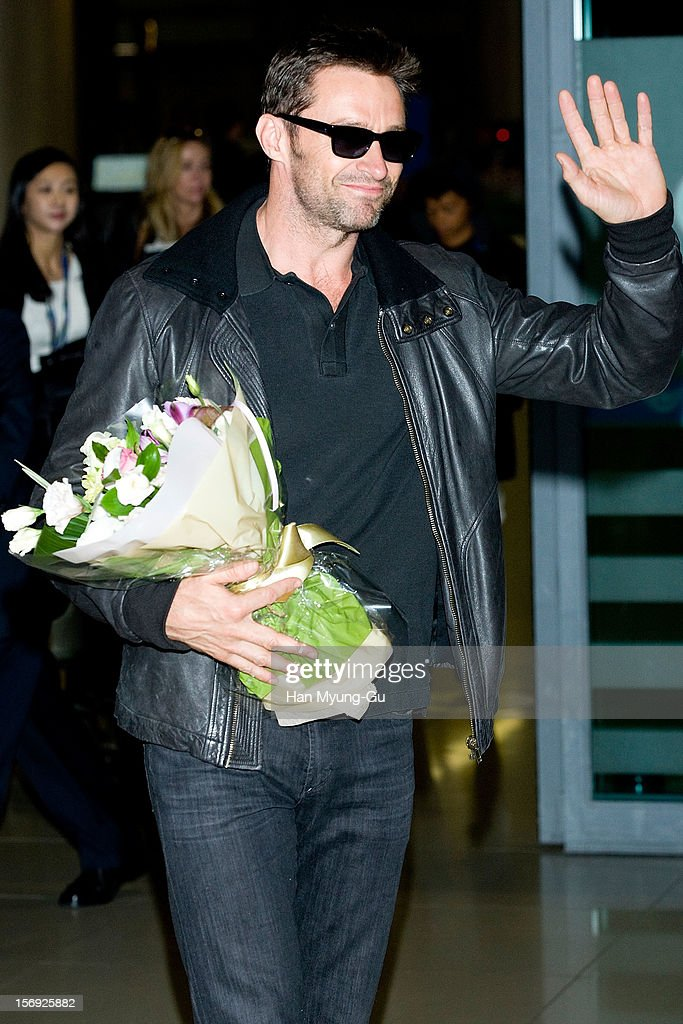Actor <a gi-track='captionPersonalityLinkClicked' href=/galleries/search?phrase=Hugh+Jackman&family=editorial&specificpeople=202499 ng-click='$event.stopPropagation()'>Hugh Jackman</a> is seen upon arrival at Incheon International Airport on November 25, 2012 in Incheon, South Korea.