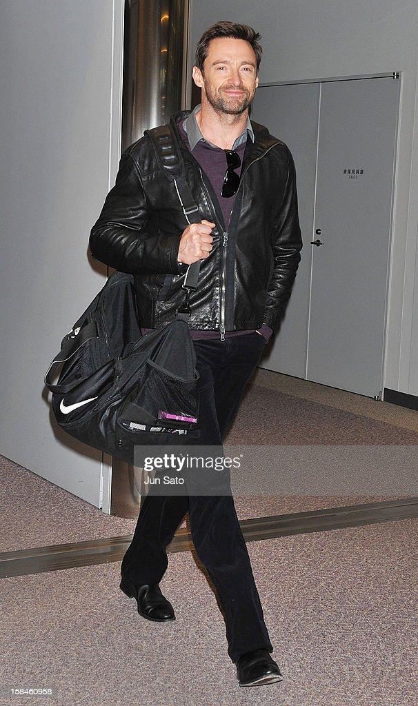 Actor Hugh Jackman is seen upon arrival at Narita International Airport on December 17, 2012 in Narita, Japan.