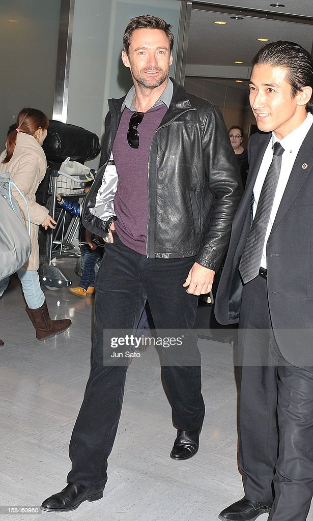 Actor <a gi-track='captionPersonalityLinkClicked' href=/galleries/search?phrase=Hugh+Jackman&family=editorial&specificpeople=202499 ng-click='$event.stopPropagation()'>Hugh Jackman</a> is seen upon arrival at Narita International Airport on December 17, 2012 in Narita, Japan.