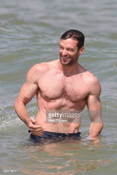 Actor Hugh Jackman is sighted at the 'Club 55' beach on July 31 2011 in St Tropez France
