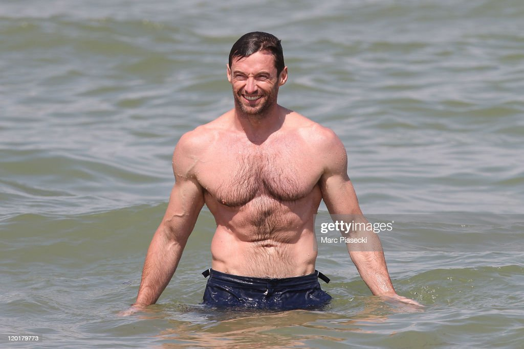 Actor <a gi-track='captionPersonalityLinkClicked' href=/galleries/search?phrase=Hugh+Jackman&family=editorial&specificpeople=202499 ng-click='$event.stopPropagation()'>Hugh Jackman</a> is sighted on the 'Club 55' beach on July 31, 2011 in St Tropez, France.