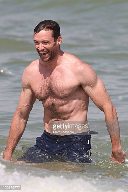 Actor Hugh Jackman is sighted on the 'Club 55' beach on July 31 2011 in St Tropez France