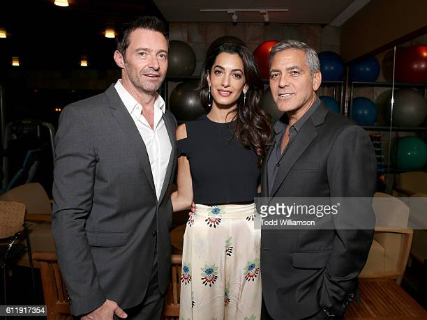 Actor Hugh Jackman lawyer Amal Clooney and Host George Clooney attend the MPTF 95th anniversary celebration with 'Hollywood's Night Under The Stars'...