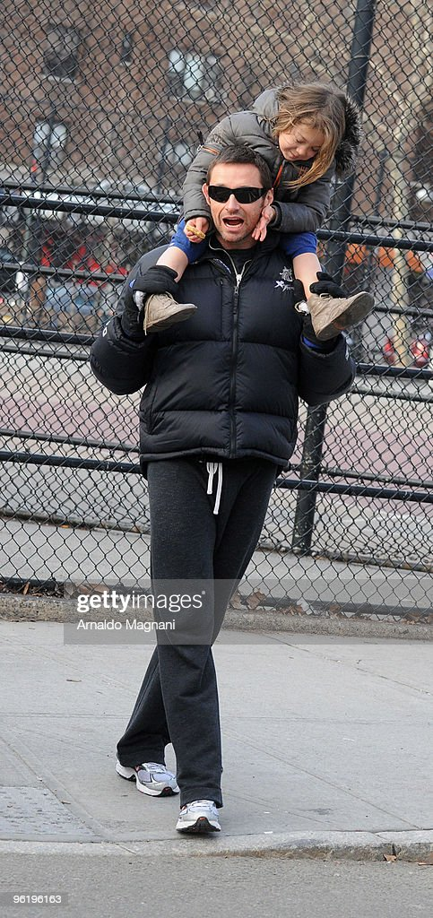Actor <a gi-track='captionPersonalityLinkClicked' href=/galleries/search?phrase=Hugh+Jackman&family=editorial&specificpeople=202499 ng-click='$event.stopPropagation()'>Hugh Jackman</a> leaves school with his daughter Ava Jackman on January 26, 2010 in New York City.