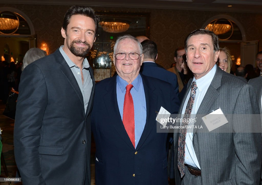 Actor Hugh Jackman, Paul Heller, Board of Directors, BAFTA and Donald Haber, Executive Director and COO, BAFTA attend the BAFTA Los Angeles 2013 Awards Season Tea Party held at the Four Seasons Hotel Los Angeles on January 12, 2013 in Los Angeles, California.