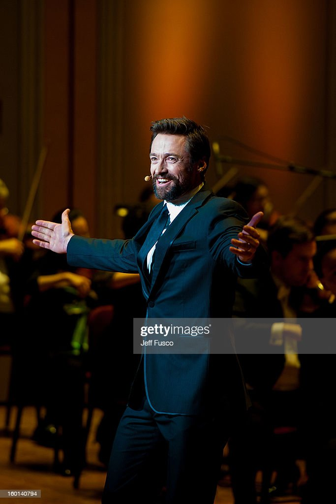 Actor Hugh Jackman performs at the Academy of Music's 156th Anniversary Concert at the Academy of Music on January 26, 2013 in Philadelphia, Pennsylvania.