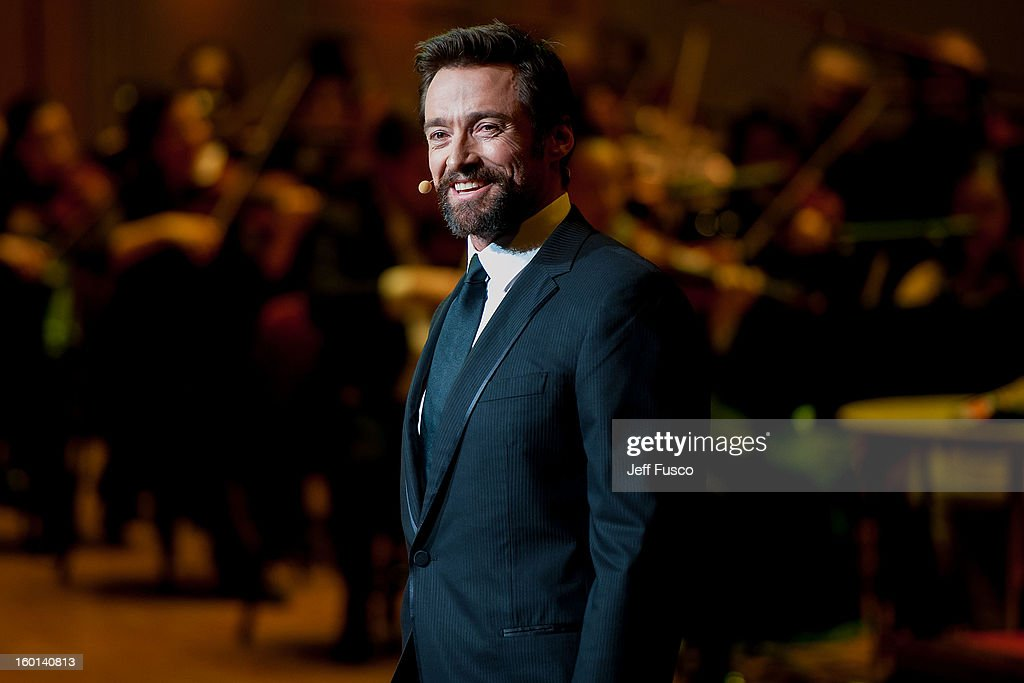 Actor <a gi-track='captionPersonalityLinkClicked' href=/galleries/search?phrase=Hugh+Jackman&family=editorial&specificpeople=202499 ng-click='$event.stopPropagation()'>Hugh Jackman</a> performs at the Academy of Music's 156th Anniversary Concert at the Academy of Music on January 26, 2013 in Philadelphia, Pennsylvania.