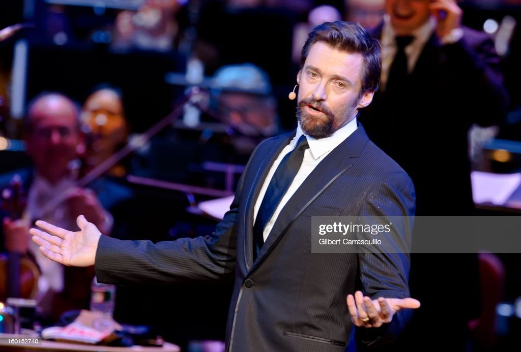 Actor <a gi-track='captionPersonalityLinkClicked' href=/galleries/search?phrase=Hugh+Jackman&family=editorial&specificpeople=202499 ng-click='$event.stopPropagation()'>Hugh Jackman</a> performs during The Academy Of Music 156th Anniversary Concert And Ball at Academy of Music on January 26, 2013 in Philadelphia, Pennsylvania.