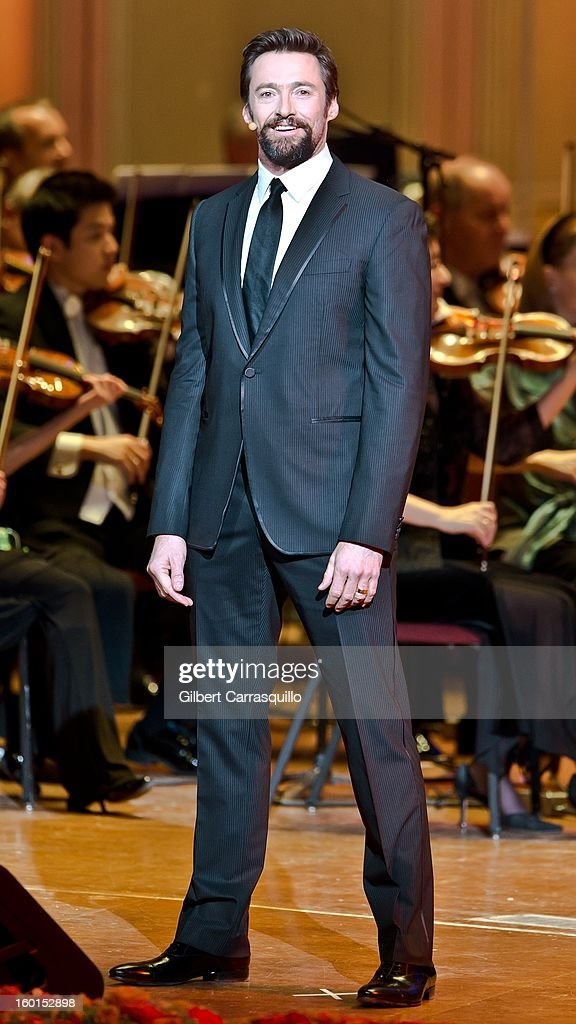 Actor Hugh Jackman performs during The Academy Of Music 156th Anniversary Concert And Ball at Academy of Music on January 26, 2013 in Philadelphia, Pennsylvania.