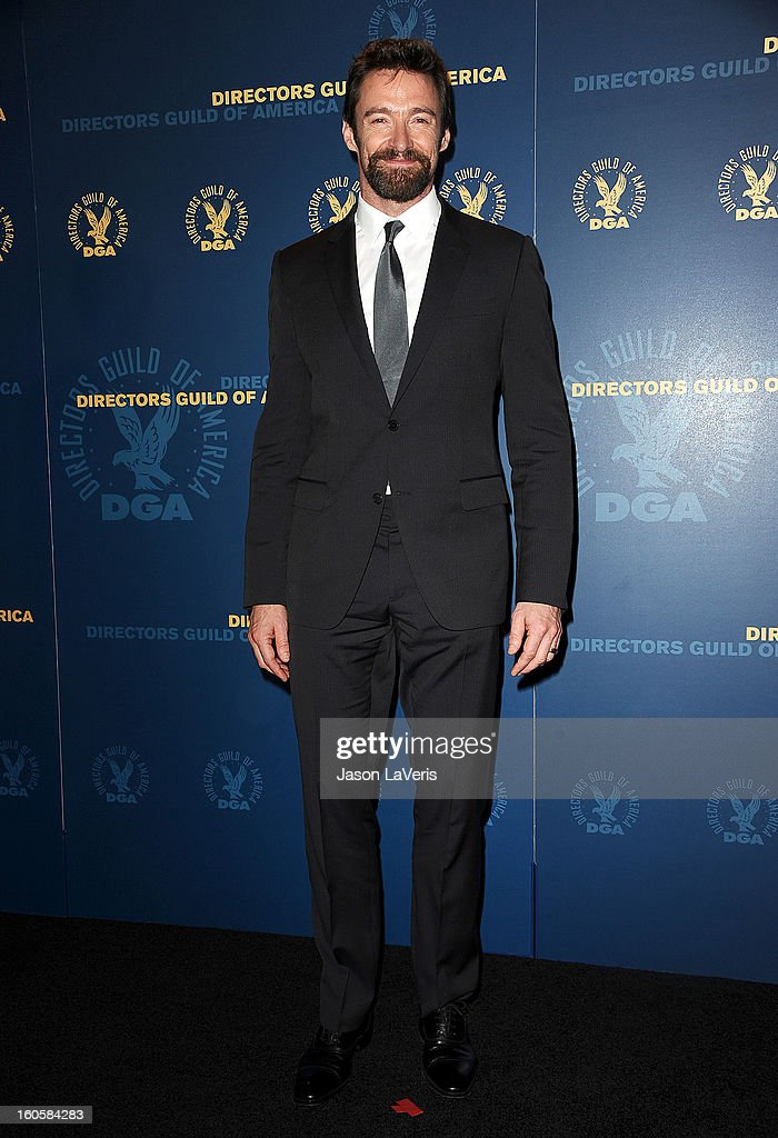 Actor <a gi-track='captionPersonalityLinkClicked' href=/galleries/search?phrase=Hugh+Jackman&family=editorial&specificpeople=202499 ng-click='$event.stopPropagation()'>Hugh Jackman</a> poses in the press room at the 65th annual Directors Guild Of America Awards at The Ray Dolby Ballroom at Hollywood & Highland Center on February 2, 2013 in Hollywood, California.