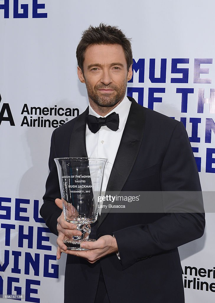 Actor <a gi-track='captionPersonalityLinkClicked' href=/galleries/search?phrase=Hugh+Jackman&family=editorial&specificpeople=202499 ng-click='$event.stopPropagation()'>Hugh Jackman</a> poses with his award at the Museum of Moving Images salute to <a gi-track='captionPersonalityLinkClicked' href=/galleries/search?phrase=Hugh+Jackman&family=editorial&specificpeople=202499 ng-click='$event.stopPropagation()'>Hugh Jackman</a> at Cipriani Wall Street on December 11, 2012 in New York City.