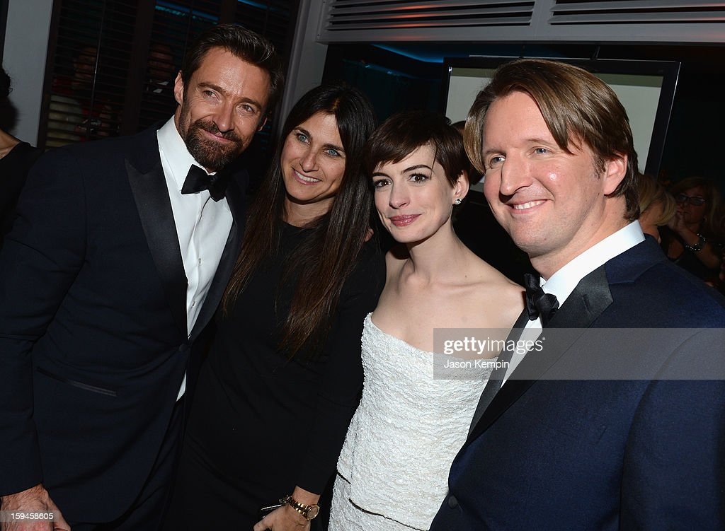 Actor Hugh Jackman, producer Liza Chasin, actress Anne Hathaway and director Tom Hooper attend the NBCUniversal Golden Globes viewing and after party held at The Beverly Hilton Hotel on January 13, 2013 in Beverly Hills, California.