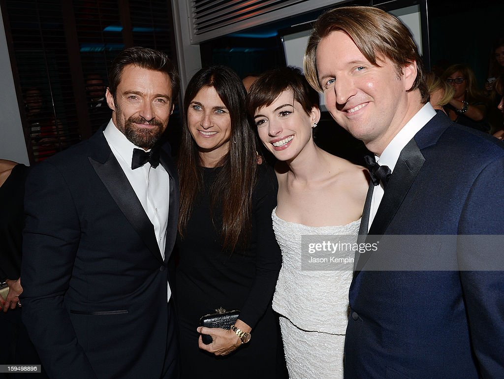 Actor <a gi-track='captionPersonalityLinkClicked' href=/galleries/search?phrase=Hugh+Jackman&family=editorial&specificpeople=202499 ng-click='$event.stopPropagation()'>Hugh Jackman</a>, producer Liza Chasin, actress <a gi-track='captionPersonalityLinkClicked' href=/galleries/search?phrase=Anne+Hathaway+-+Attrice&family=editorial&specificpeople=11647173 ng-click='$event.stopPropagation()'>Anne Hathaway</a> and director <a gi-track='captionPersonalityLinkClicked' href=/galleries/search?phrase=Tom+Hooper&family=editorial&specificpeople=681836 ng-click='$event.stopPropagation()'>Tom Hooper</a> attend the NBCUniversal Golden Globes viewing and after party held at The Beverly Hilton Hotel on January 13, 2013 in Beverly Hills, California.