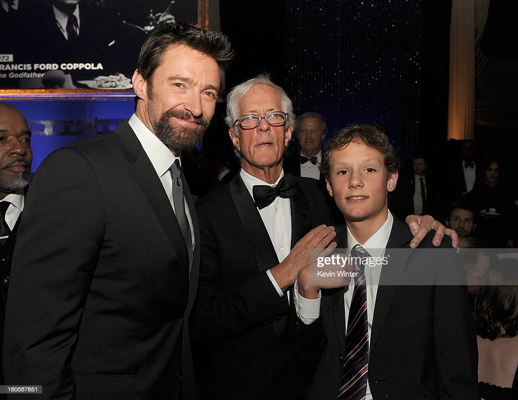 Actor <a gi-track='captionPersonalityLinkClicked' href=/galleries/search?phrase=Hugh+Jackman&family=editorial&specificpeople=202499 ng-click='$event.stopPropagation()'>Hugh Jackman</a> (L), Robert Aldrich Award honoree <a gi-track='captionPersonalityLinkClicked' href=/galleries/search?phrase=Michael+Apted&family=editorial&specificpeople=211167 ng-click='$event.stopPropagation()'>Michael Apted</a> (C) and guest attend the 65th Annual Directors Guild Of America Awards at Ray Dolby Ballroom at Hollywood & Highland on February 2, 2013 in Los Angeles, California.