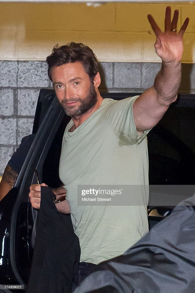 Actor <a gi-track='captionPersonalityLinkClicked' href=/galleries/search?phrase=Hugh+Jackman&family=editorial&specificpeople=202499 ng-click='$event.stopPropagation()'>Hugh Jackman</a> seen on the streets of Manhattan on July 23, 2013 in New York City.