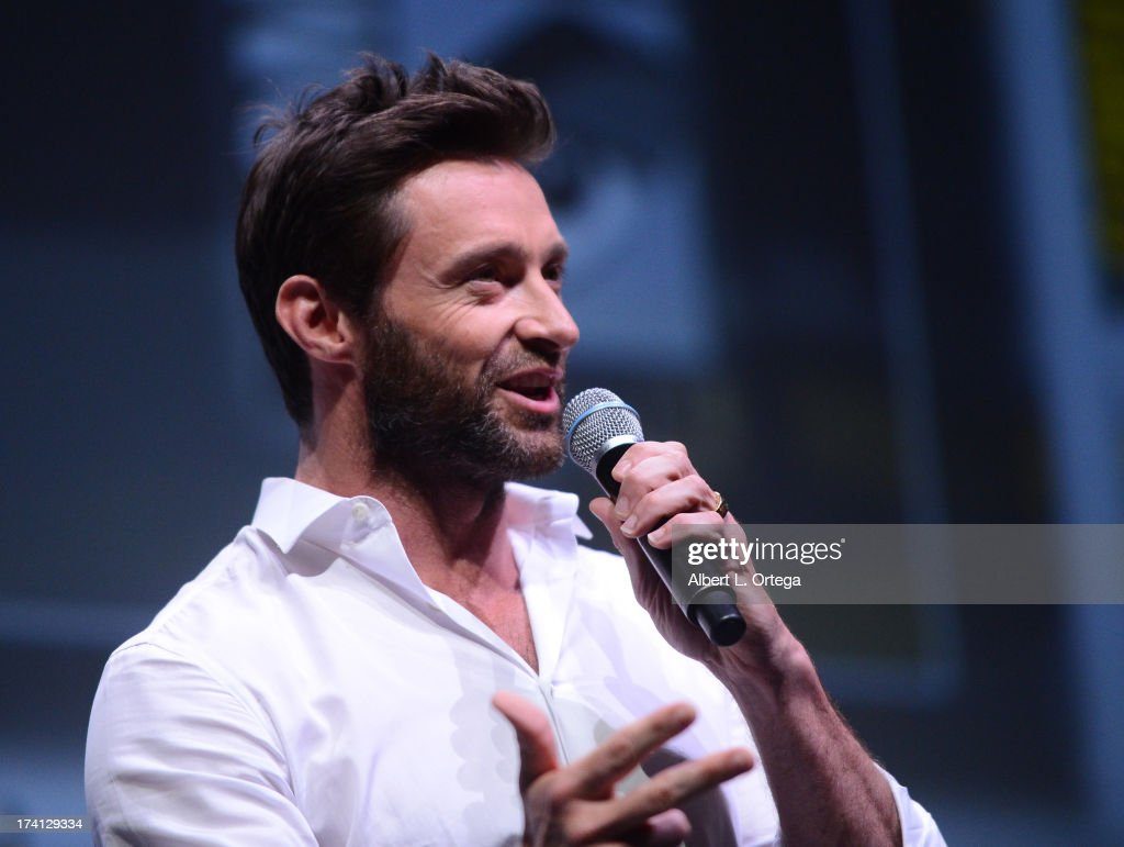 Actor <a gi-track='captionPersonalityLinkClicked' href=/galleries/search?phrase=Hugh+Jackman&family=editorial&specificpeople=202499 ng-click='$event.stopPropagation()'>Hugh Jackman</a> speaks at the 20th Century Fox 'X-Men: Days of Future Past' panel during Comic-Con International 2013 at San Diego Convention Center on July 20, 2013 in San Diego, California.