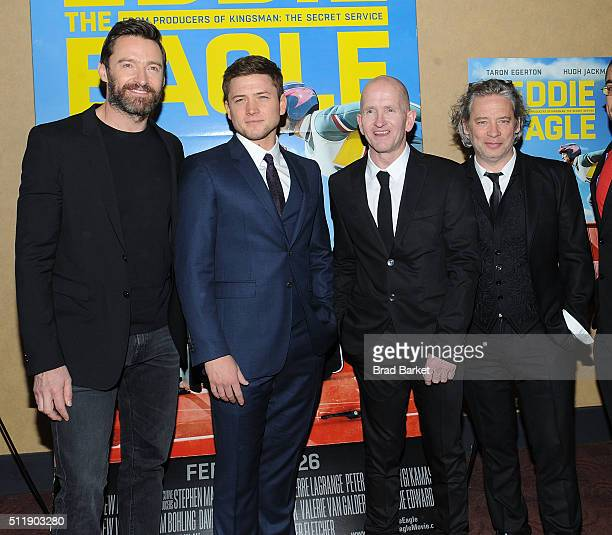 Actor Hugh Jackman Taron Egerton Eddie Edwards and Dexter Fletcher attend the 'Eddie The Eagle' New York Screening at Chelsea Bow Tie Cinemas on...