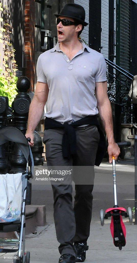 Actor Hugh Jackman walks in the West Village on October 6, 2009 in New York City.