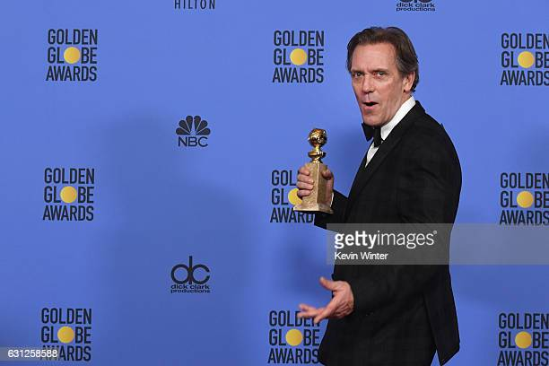 Actor Hugh Laurie winner of Best Supporting Actor in a Series Miniseries or Television Film for 'The Night Manager' poses in the press room during...