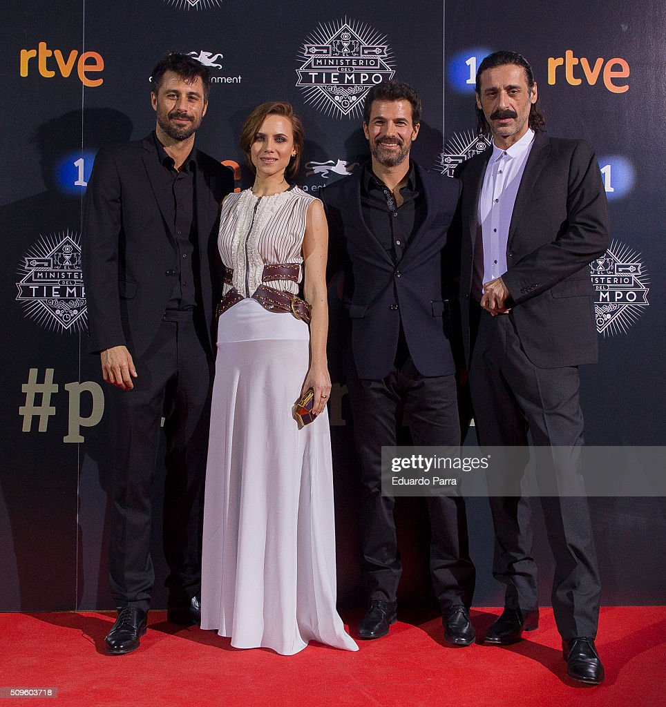 Actor <a gi-track='captionPersonalityLinkClicked' href=/galleries/search?phrase=Hugo+Silva&family=editorial&specificpeople=605764 ng-click='$event.stopPropagation()'>Hugo Silva</a>, actress <a gi-track='captionPersonalityLinkClicked' href=/galleries/search?phrase=Aura+Garrido&family=editorial&specificpeople=6914215 ng-click='$event.stopPropagation()'>Aura Garrido</a>, actor <a gi-track='captionPersonalityLinkClicked' href=/galleries/search?phrase=Rodolfo+Sancho&family=editorial&specificpeople=5717157 ng-click='$event.stopPropagation()'>Rodolfo Sancho</a> and actor Nacho Fresneda attend 'El Ministerio del Tiempo' second season premiere at Capitol cinema on February 11, 2016 in Madrid, Spain.
