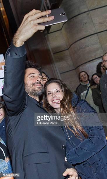 Actor Hugo Silva attends 'El Ministerio del Tiempo' second season premiere at Capitol cinema on February 11 2016 in Madrid Spain
