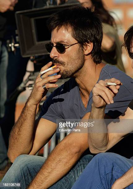 Actor Hugo Silva is sighted on a set filming 'Dioses y perros' at Las Tetas Park on October 4 2013 in Madrid Spain
