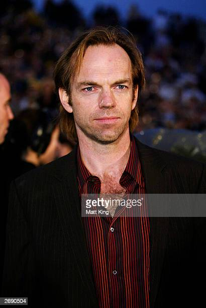Actor Hugo Weaving arrives at the Australian premiere of the movie 'The Matrix Revolutions' held at the Sydney Opera House November 2 2003 in Sydney...