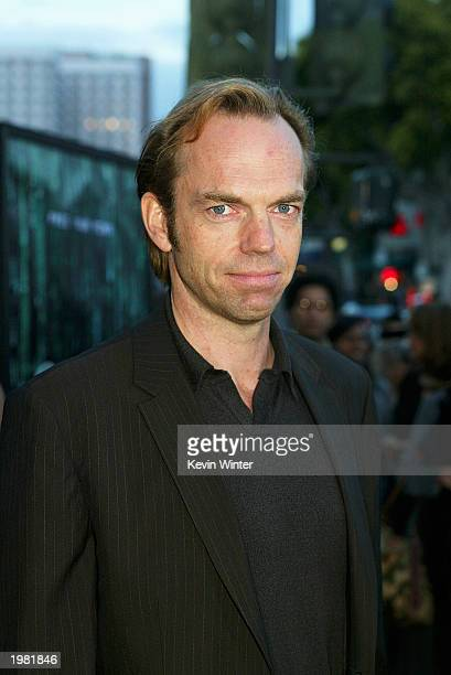 Actor Hugo Weaving arrives at the premiere of 'The Matrix Reloaded' at the Village Theater on May 7 2003 in Los Angeles California