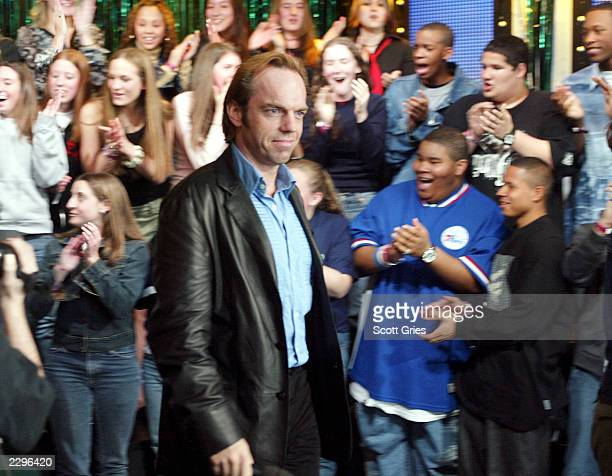 Actor Hugo Weaving during a visit from the cast of 'The Matrix Reloaded' on MTV's Total Request Live May 13 2003 at the MTV Times Square studios in...