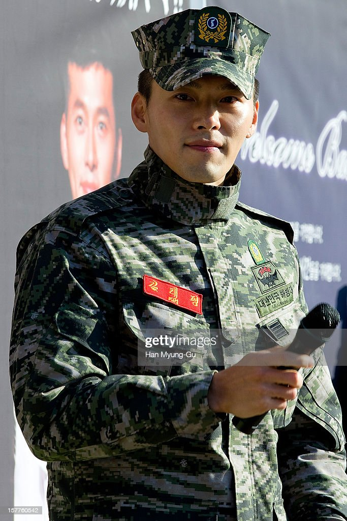 Actor Hyun Bin talks to reporter after being discharged from military service on December 6, 2012 in Gyeonggi-do, South Korea.