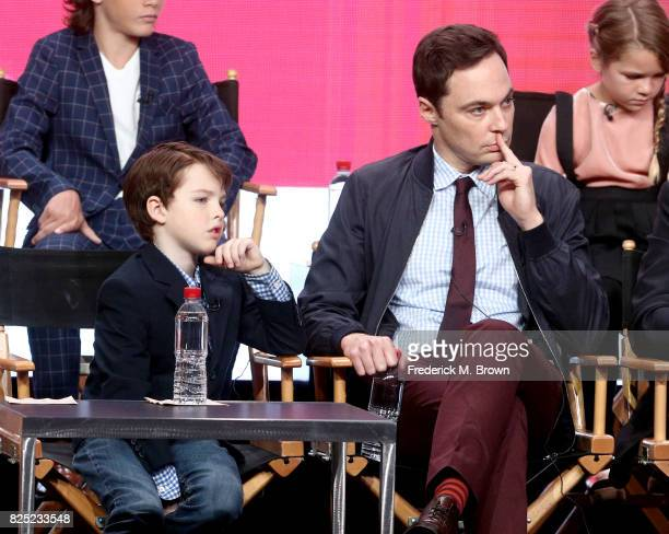 Actor Iain Armitage and executive producer/narrator Jim Parsons of 'Young Sheldon' speak onstage during the CBS portion of the 2017 Summer Television...
