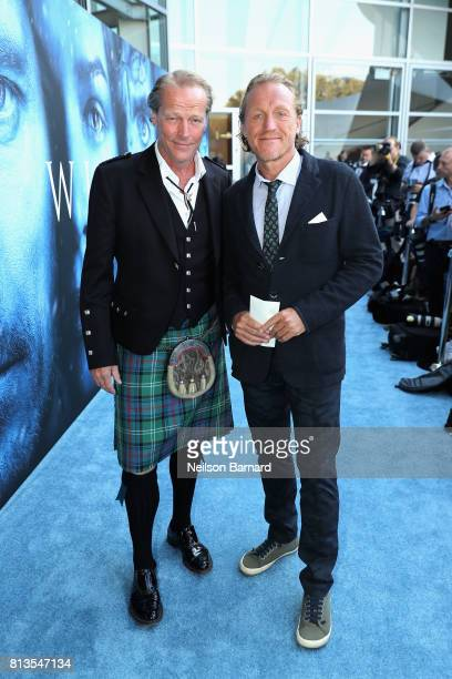 Actor Iain Glen and Jerome Flynn attend the premiere of HBO's 'Game Of Thrones' season 7 at Walt Disney Concert Hall on July 12 2017 in Los Angeles...