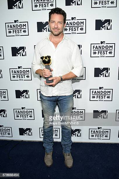 Actor Ian Bohen poses with Fandom of the Year award backstage at the MTV Fandom Awards San Diego at PETCO Park on July 21 2016 in San Diego California