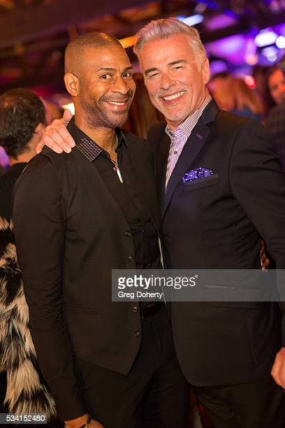Actor Ian Buchanan poses for a picture with a guest at The Abbey Food And Bar Hosts 25th Anniversary Celebration Party at The Abbey on May 24 2016 in...