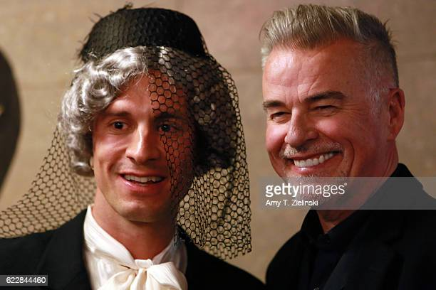 Actor Ian Buchanan who portrayed Dick Tremayne on 'Twin Peaks' poses with a fan Mario Juengling dressed as Mrs Tremond during the Twin Peaks UK...