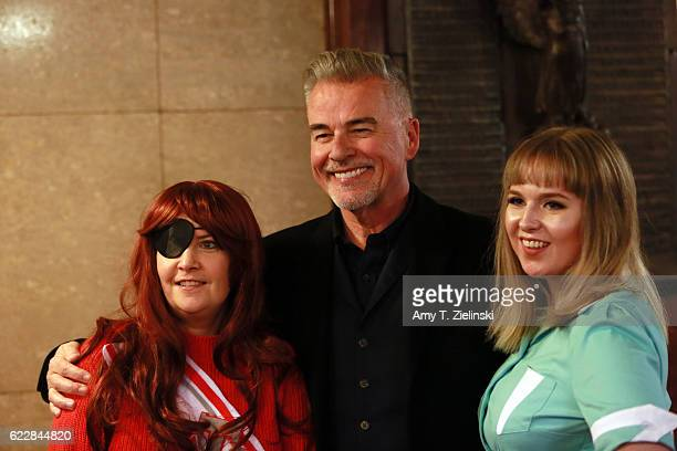 Actor Ian Buchanan who portrayed Dick Tremayne on 'Twin Peaks' poses with Twin Peaks fans Ishbel dressed as Shelly Johnson and Bidi dressed as Nadine...