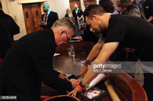 Actor Ian Buchanan who portrayed Dick Tremayne on 'Twin Peaks' signs autographs for Luke Shaw during the Twin Peaks UK Festival 2016 at Hornsey Town...