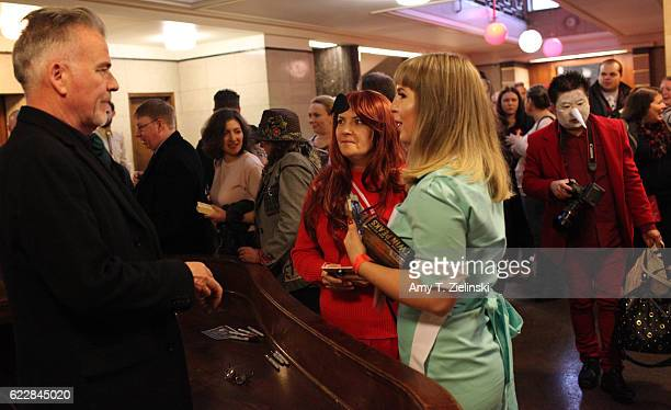 Actor Ian Buchanan who portrayed Dick Tremayne on 'Twin Peaks' signs autographs for Twin Peaks fans Ishbel dressed as Shelly Johnson and Bidi dressed...