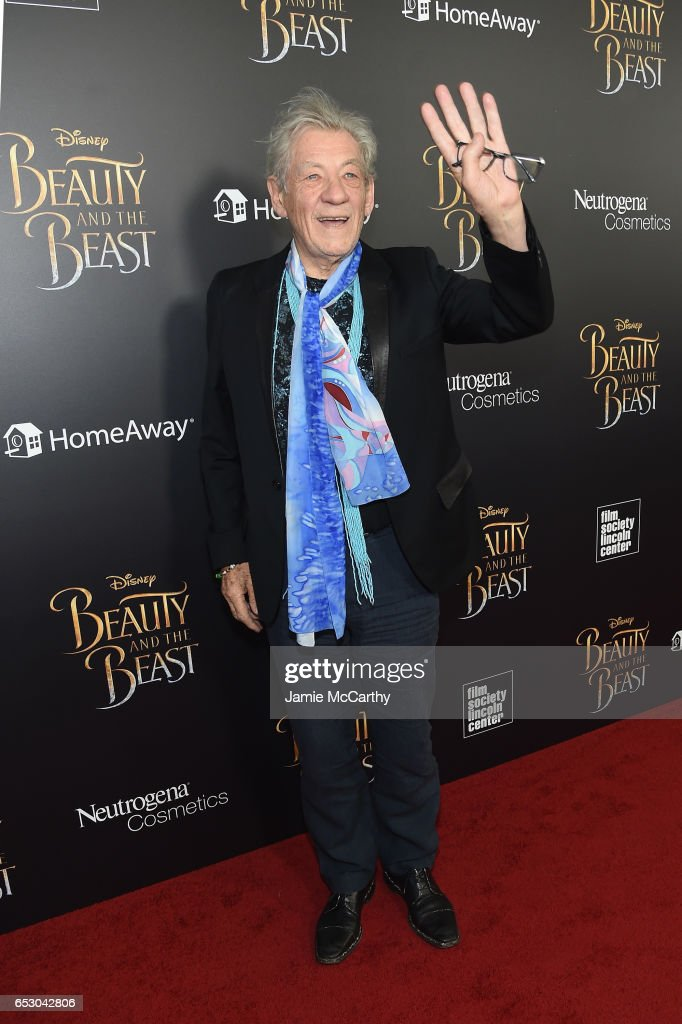 Actor Ian McKellen arrives at the New York special screening of Disney's live-action adaptation 'Beauty and the Beast' at Alice Tully Hall on March 13, 2017 in New York City.